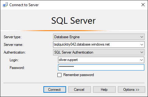Connect to Azure SQL Database